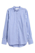 Cotton blouse with frills - Blue/Striped - Ladies | H&M GB 2