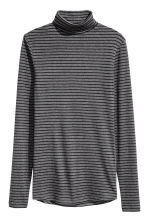 Ribbed polo-neck jumper - Dark grey/Striped - Ladies | H&M CN 2