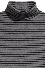 Ribbed polo-neck jumper - Dark grey/Striped - Ladies | H&M CN 3