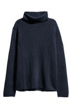 Pullover a coste a collo alto - Blu scuro - DONNA | H&M IT 2