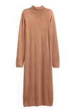 Fine-knit turtleneck dress - Dark beige marl - Ladies | H&M GB 2