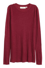 Ribbed top in a lyocell blend - Dark red - Ladies | H&M CN 2