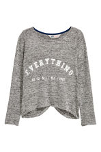 Fine-knit printed jumper - Grey marl - Kids | H&M CN 2