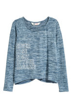 Fine-knit printed jumper - Blue marl -  | H&M CN 2