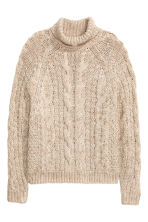 Cable-knit polo-neck jumper - Light beige marl - Ladies | H&M GB 2