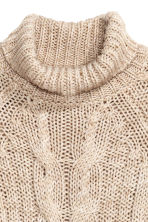 Cable-knit polo-neck jumper - Light beige marl - Ladies | H&M GB 3