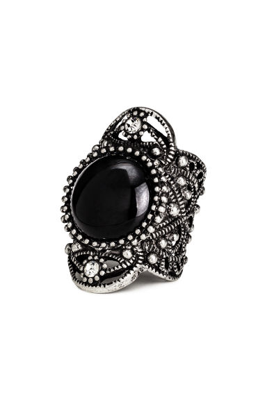 Wide ring - Silver/Black - Ladies | H&M CN 1