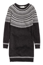 Knitted dress - Dark grey/Patterned - Ladies | H&M GB 2