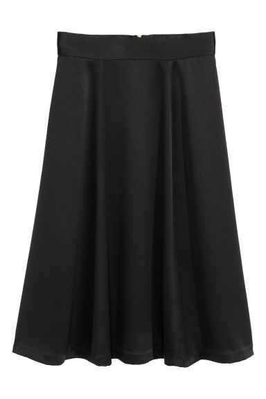 Gonna in satin - Nero - DONNA | H&M IT 1