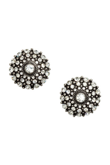 Sparkly earrings - Dark grey - Ladies | H&M CN 1