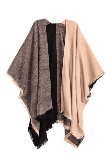 Block-coloured poncho - Black/Beige - Ladies | H&M CN 1