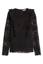 Flounced lace top - Black - Ladies | H&M CN 2