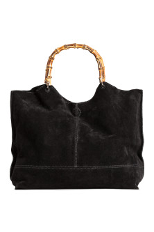 Suede shopper with clutch