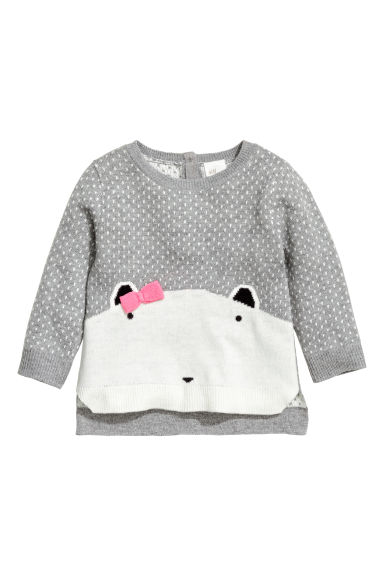 Jacquard-knit jumper - Grey - Kids | H&M CN 1