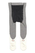 Jacquard-patterned tights - Dark grey/Striped - Kids | H&M CN 2