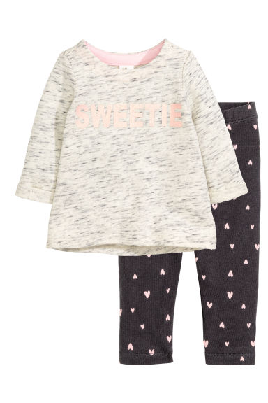 Jersey set - Light beige marl - Kids | H&M CN 1