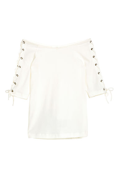 Off-the-shoulder top - Natural white - Ladies | H&M CN 1