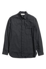 Herringbone-patterned shirt - Black - Men | H&M CN 2