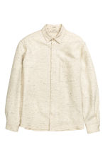 Textured-weave cotton shirt - Light beige marl - Men | H&M CN 2