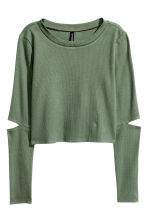 Cropped jersey top - Khaki green - Ladies | H&M CN 2