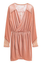 Velour dress with lace - Old rose - Ladies | H&M CA 2