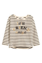 Jersey top with sequins - Light beige/Striped - Kids | H&M CN 2