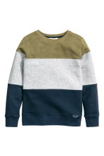 Block-patterned sweatshirt - Khaki green -  | H&M CN 2
