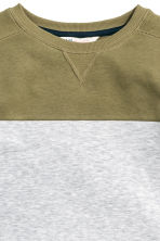 Block-patterned sweatshirt - Khaki green -  | H&M CN 3