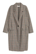 Dogtooth-patterned coat - Light beige - Ladies | H&M GB 2