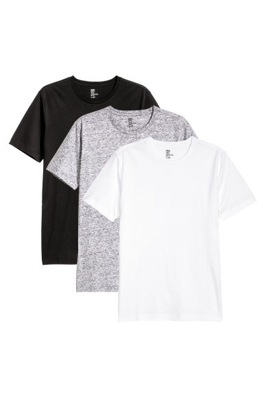 3-pack T-shirts Regular fit - Black/White/Grey marl - Men | H&M CN 1