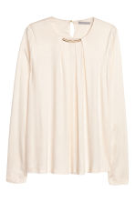 Long-sleeved top - Natural white - Ladies | H&M CN 1