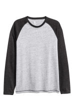 Long-sleeved T-shirt - Grey marl - Men | H&M 3