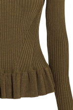 Ribbed jumper with a flounce - Dark Khaki - Ladies | H&M CN 3
