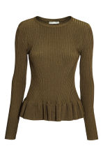 Ribbed jumper with a flounce - Dark Khaki - Ladies | H&M CN 2
