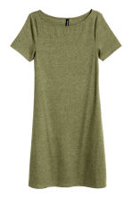 Ribbed jersey dress - Khaki green -  | H&M CN 2