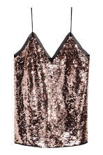 Sequined strappy top - Bronze -  | H&M CN 2