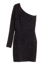 Glittery one-shoulder dress - Black -  | H&M CN 2