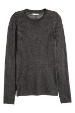 Ribbed top - Dark grey marl - Ladies | H&M CN 2