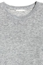 Ribbed top - Grey marl -  | H&M CN 3