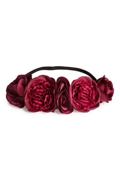 Hairband with flowers - Dark red - Ladies | H&M CN 1
