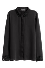 Blouse with embroidered collar - Black - Ladies | H&M GB 2