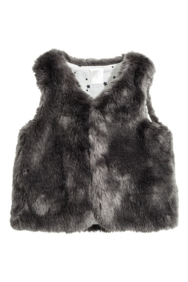 Faux fur gilet - Dark grey - Kids | H&M CN 1