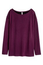 Long-sleeved jersey top - Burgundy - Ladies | H&M CN 1