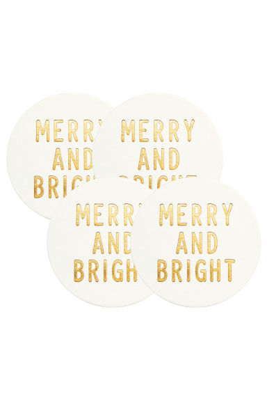 Lot de 4 dessous de verre - Blanc/Merry and Bright - Home All | H&M FR