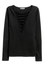 Top with lacing - Black -  | H&M CN 2