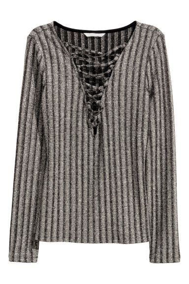 Top with lacing - Dark grey/Glittery - Ladies | H&M CA 1