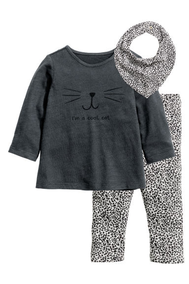 Top with leggings and a scarf - Dark grey - Kids | H&M CN 1