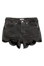 Scallop-hem denim shorts - Dark grey denim - Ladies | H&M CN 2