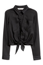 Tie-front blouse - Black - Kids | H&M CN 2
