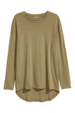 Long-sleeved T-shirt - Khaki green - Men | H&M CN 2